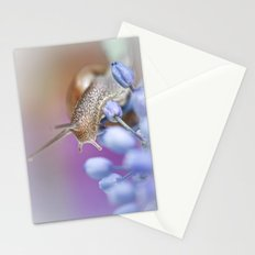Snail on Grape Hyacinths Stationery Cards