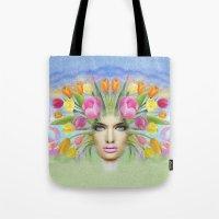 Woman Flowers Colors Tote Bag