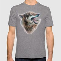 Wolf smile Mens Fitted Tee Tri-Grey SMALL