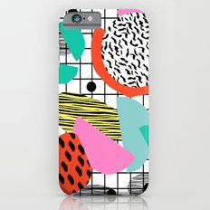 Posse - 1980's style throwback retro neon grid pattern shapes 80's memphis design neon pop art iPhone 6 Slim Case