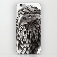 black and white ornate rendered tribal eagle iPhone & iPod Skin