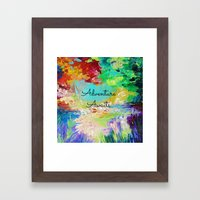 ADVENTURE AWAITS Wanderlust Typography Explore Summer Nature Rainbow Abstract Fine Art Painting Framed Art Print