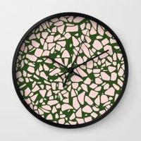 Stone Pattern - Salmon Pink & Olive Green Wall Clock