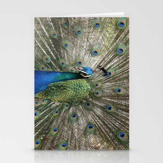 Peacock Indian Blue Stationery Card