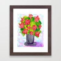 Pewter Vase with Orange Flowers Framed Art Print