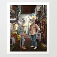 Art Print featuring A Cats Night Out by Florever
