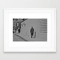 Lonely Man in Black Framed Art Print
