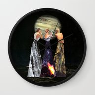 Wall Clock featuring The Three Erinyes by Eugenia Loli