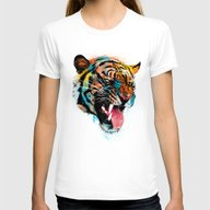 FEROCIOUS TIGER Womens Fitted Tee White LARGE