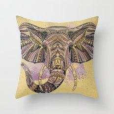 Purple Ethnic Elephant Throw Pillow