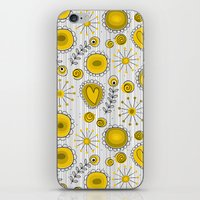 Whimsical flowers in yellow iPhone & iPod Skin