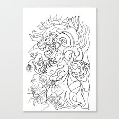 Dragon with rose. Canvas Print