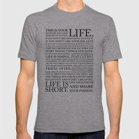 LIFE IS Mens Fitted Tee Athletic Grey SMALL