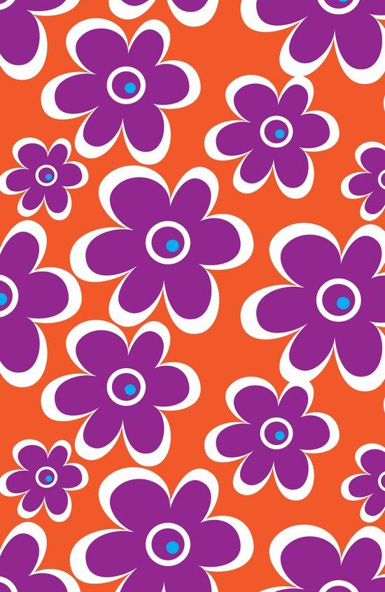 retro purple flower Art Print