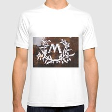 M on Dark Window Reflection SMALL Mens Fitted Tee White