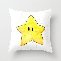 Invincibility Star Mario Art Throw Pillow