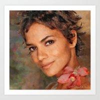 Halle Berry  (Portrait neglected) Art Print