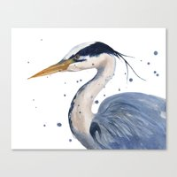 HERON art print, heron painting, watercolor heron, bird painting Canvas Print