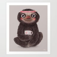Art Print featuring Sloth I♥yoga by Lime
