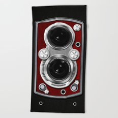 Vintage Camera Red Beach Towel