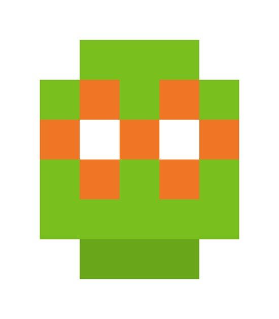 hero pixel green orange Art Print