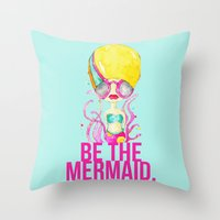 golden.  a happy mermaid Throw Pillow