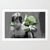 Luke Skywalker & Yoda Art Print