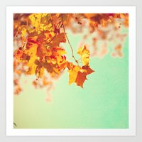 Orange leafs over turquouise Art Print