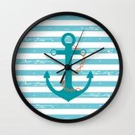 AFE~Nautical- Teal Ship … Wall Clock