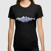 MOUNTAINS IN THE SKY Womens Fitted Tee Tri-Black SMALL