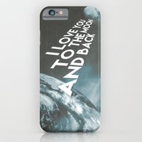 iPhone Cases featuring I love you to the moon and back by cafelab