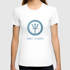Percy Jackson Womens Fitted Tee White SMALL