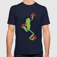 Green Tree Frog Mens Fitted Tee Navy SMALL