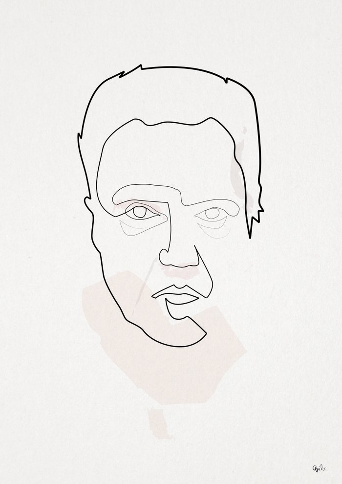 Single Line Art Print : One line christopher walken art print by quibe society