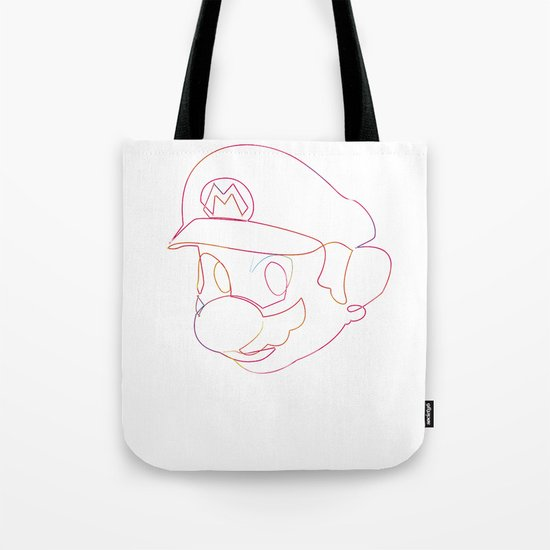 One line Supermario Tote Bag