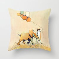 Little Girl And Elephant Throw Pillow