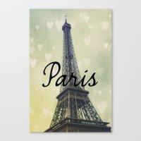 Paris Typography Eiffel Tower  Canvas Print