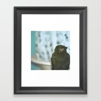 Bathroom Crow Framed Art Print