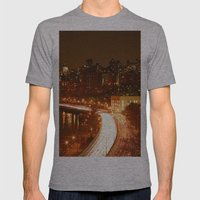 New York City Night Skyline. Mens Fitted Tee Athletic Grey SMALL