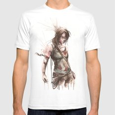 Lara White Mens Fitted Tee SMALL