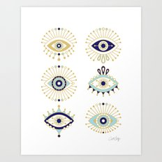 Evil Eye Collection on White Art Print