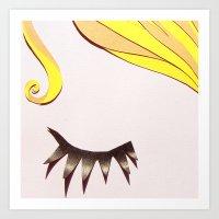Girl Face Papercut Art Print