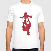 Hanging Out. Spiderman Mens Fitted Tee White SMALL