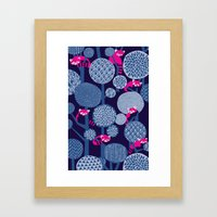 Red Panda Forest - Blue Framed Art Print