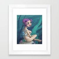 Sad Lonely Sea Nymph Framed Art Print