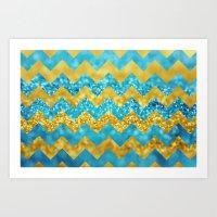 Blueberry Twist Chevron Art Print