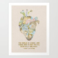 A Traveler's Heart + Quote Art Print