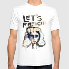 LET'S FRENCH!  Mens Fitted Tee White SMALL