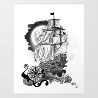 The sea route to the moon Art Print