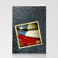 Chile grunge sticker flag Stationery Cards